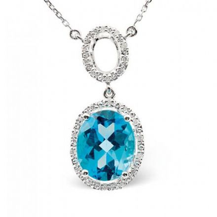 9K White Gold 0.12ct Diamond & 4.79ct Blue Topaz Necklace, B1222